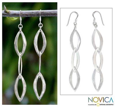 Sterling silver dangle earrings, 'Dancing Leaves' - Sterling silver dangle earrings