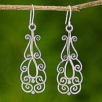 Sterling silver dangle earrings, 'Thai Spark' - Handcrafted Sterling Silver Dangle Earrings