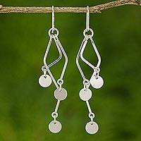 Sterling silver dangle earrings, 'Wind Chime' - Sterling silver dangle earrings