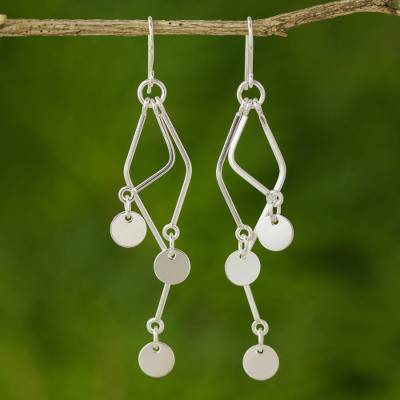 9c554a625 Sterling silver dangle earrings, 'Wind Chime' - Sterling silver dangle  earrings