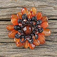 Carnelian brooch pin, 'Orange Chrysanthemum' - Unique Floral Carnelian Brooch Pin