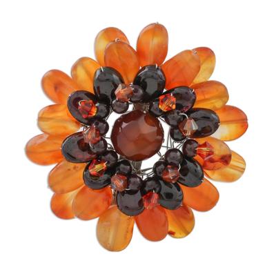Unique Floral Carnelian Brooch Pin