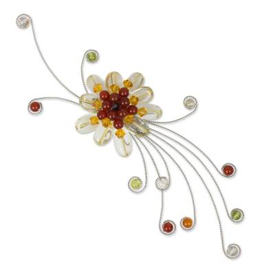 Citrine and carnelian brooch pin, 'Dream Flower' - Floral Citrine and Carnelian Brooch Pin