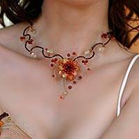 Citrine and carnelian choker, 'Fire Flower' - Carnelian and Citrine Beaded Choker