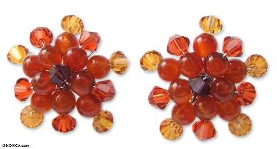 Carnelian button earrings, 'Ginger Star Blossoms' - Carnelian Button Earrings
