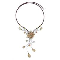 Carnelian and citrine choker, 'Sunflower' - Hand Made Floral Citrine Necklace