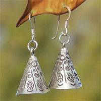 Silver dangle earrings, 'Hill Tribe Bell' - Handmade Hill Tribe 950 Silver Dangle Earrings