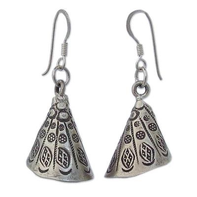 Silver dangle earrings, 'Hill Tribe Bell' - Handmade Hill Tribe 950 Silver Dangle Earrings