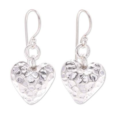 Silver heart earrings, 'In My Heart' - Silver 950 Heart Earrings