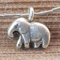 Sterling silver anklet, 'Little Elephant' - Sterling Silver Charm Anklet