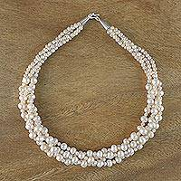 Pearl strand necklace, 'Pink Princess' - Handmade Pearl Necklace from Thailand