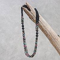 Onyx and tourmaline necklace, 'Night Colors' - Onyx and Tourmaline Four Strand Beaded Necklace
