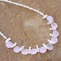 Rose quartz and pearl choker, 'Pink Cloud' - Rose quartz and pearl choker