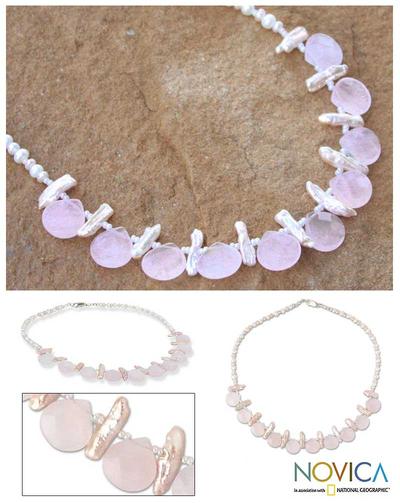 Rose quartz and pearl choker, 'Pink Cloud' - Rose quartz and pearl choker