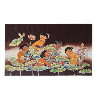 Batik wall hanging, 'Lotus Pool' - Batik Wall Hanging