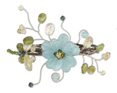 Peridot wrap bracelet, 'Green Dragonfly Shadow' - Floral Multigem Bracelet