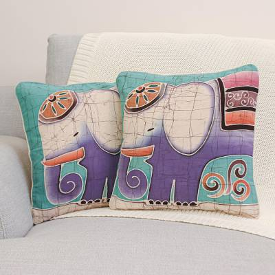 Cotton cushion covers, Purple Pachyderm (pair)