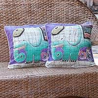 Cotton cushion covers, 'Dreamy Elephants' (pair) - Handcrafted Batik Cotton Cushion Covers (Pair)