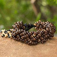 Coconut shell braided bracelet, 'Nutmeg Forest' - Thai Coconut Shell Braided Bracelet