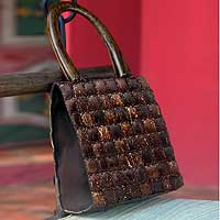 Coconut shell handbag, 'Modern Autumn' - Coconut shell handbag
