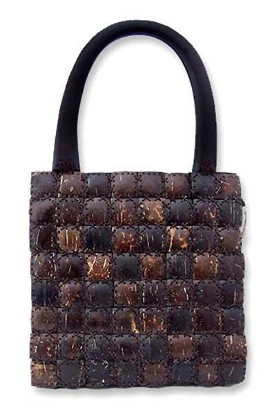 Coconut shell handbag, 'Modern Autumn' - Coconut shell handbag