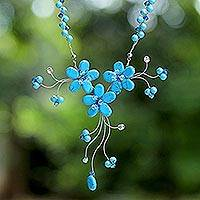 Beaded necklace, 'Blue Floral Cascade' - Thai Floral Beaded Necklace