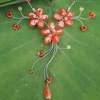 Carnelian flower necklace, 'Ginger Cascade' - Carnelian flower necklace