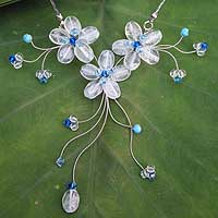 Quartz flower necklace, 'Blue Wildflowers' - Artisan Crafted Floral Quartz Necklace