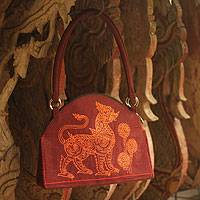 Cotton handbag, 'Lion Guardian' - Cotton handbag
