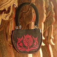 Cotton handbag, 'Forest Path' - Cotton handbag