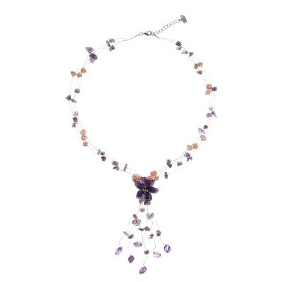 Floral Amethyst and Pearl Beaded Necklace