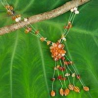 Carnelian and pearl flower necklace, 'Fantasy'