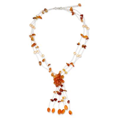 Fair Trade Floral Carnelian Y Necklace