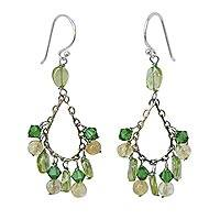 Peridot and citrine earrings, 'Green Dew' - Beaded Peridot Dangle Earrings
