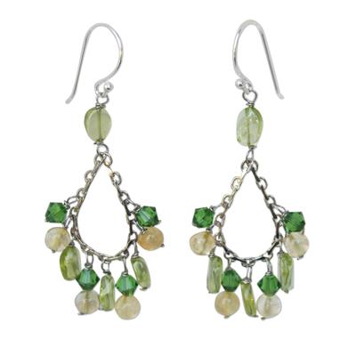 Beaded Peridot Dangle Earrings