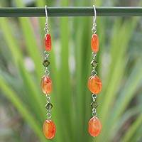 Carnelian dangle earrings, 'Orange Marmalade' - Hand Made Carnelian Dangle Earrings