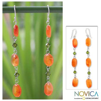 Carnelian dangle earrings, 'Orange Marmalade' - Hand Made Carnelian Dangle Earrings