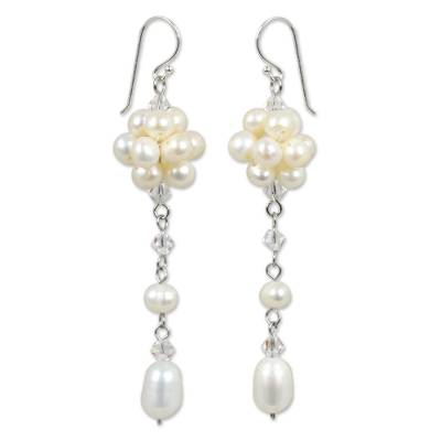 Pearl dangle earrings, 'Offer of Grace' - Bridal Sterling Silver and Pearl Dangle Earrings