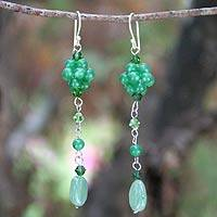 Sterling silver dangle earrings, 'Floral Green' - Beaded Quartz Earrings