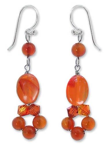 Handmade Beaded Carnelian Earrings