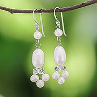 Pearl dangle earrings, 'Pure Serenity' - Fair Trade Pearl Dangle Earrings