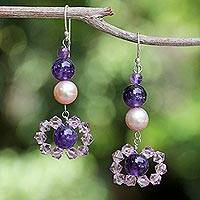 Pearl and amethyst dangle earrings, 'Oriental Bloom' - Pearl and Amethyst Dangle Earrings