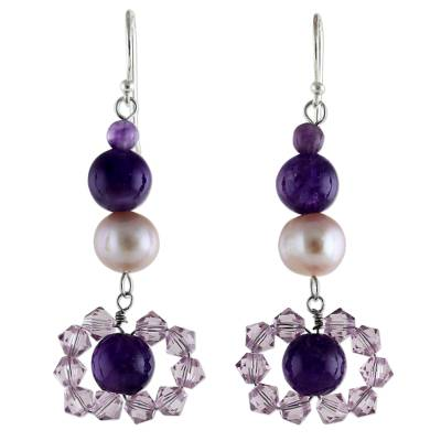 Pearl and Amethyst Dangle Earrings