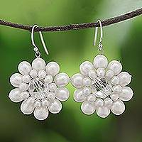 Pearl flower earrings, 'White Chrysanthemum'