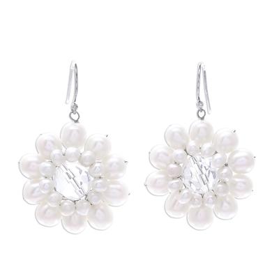 Pearl flower earrings, 'White Chrysanthemum' - Pearl Flower Earrings