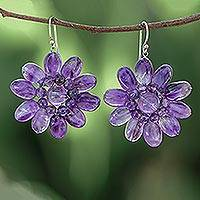 Amethyst floral earrings, 'Chrysanthemum' - Handcrafted Floral Beaded Amethyst Earrings from Thailand