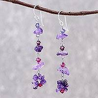 Amethyst dangle earrings, 'Colorful Waterfall'