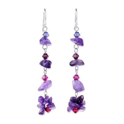 Amethyst dangle earrings, 'Colorful Waterfall' - Beaded Amethyst Dangle Earrings