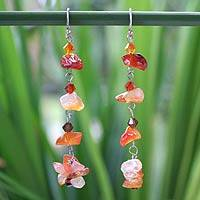 Carnelian cluster earrings, 'Waterfall' - Carnelian Beaded Earrings