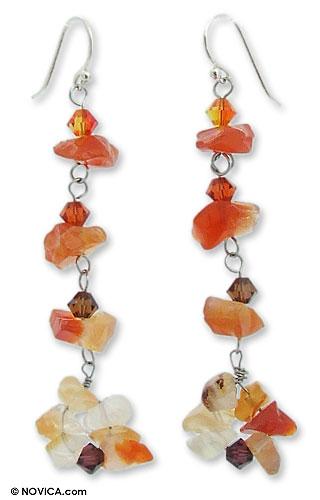 Carnelian Beaded Earrings